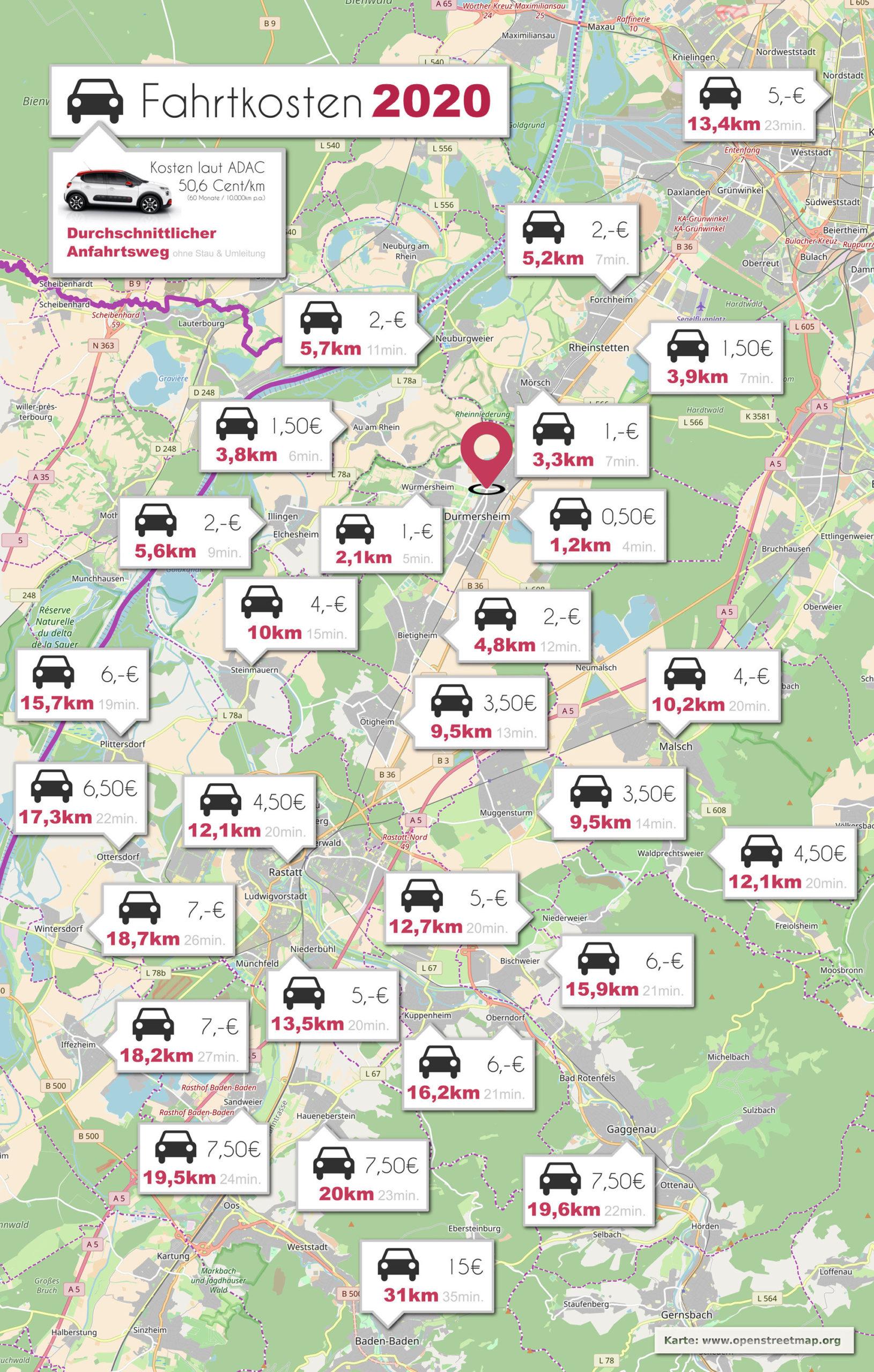 Fahrtkosten für Mobile Fußpflege im Landkreis Rastatt